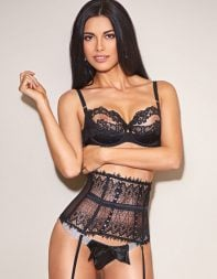 Stunning brunette escort Jayne in black designer lingerie - Eastern European escort in Kensington, Central London