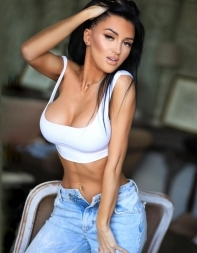 Fetish escort Cassy in sports bra and jeans - Eastern European escort in South Kensington, Chelsea