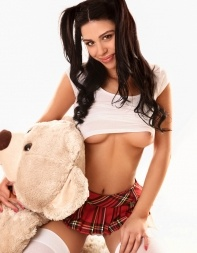 Young escort Valerie in her sexy school girl outfit - Eastern European escort in Mayfair, West End