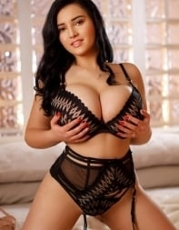 Busty escort Avelina in sexy underwear