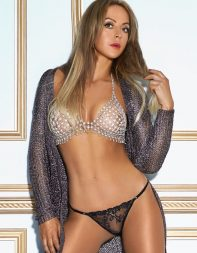 Elite escort Mauve in chain bra and panties - Eastern European escort in Central London